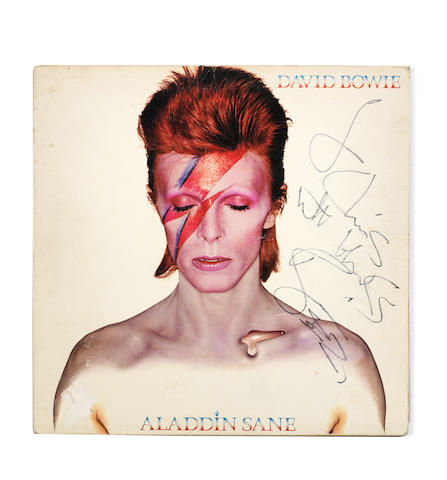 An autographed copy of the album 'Aladdin Sane' by David Bowie,