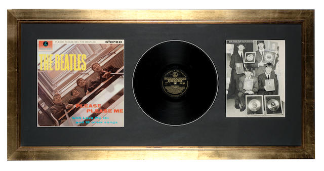 Beatles autographs and a stereo, black/gold label pressing of the album 'Please Please Me',