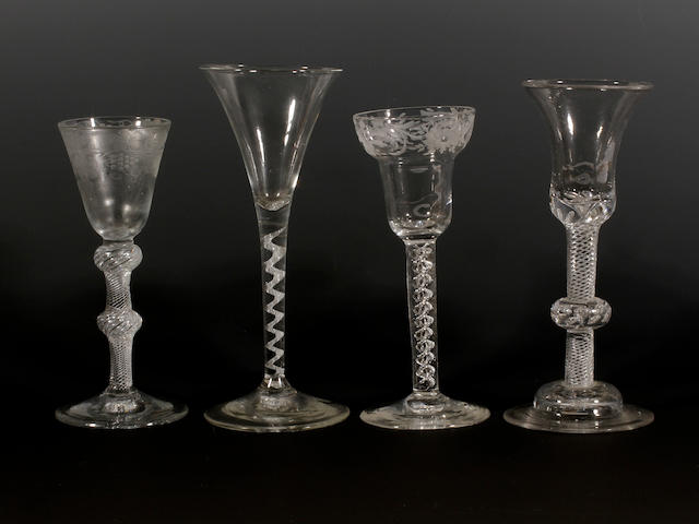 Four wine glasses, circa 1750-60