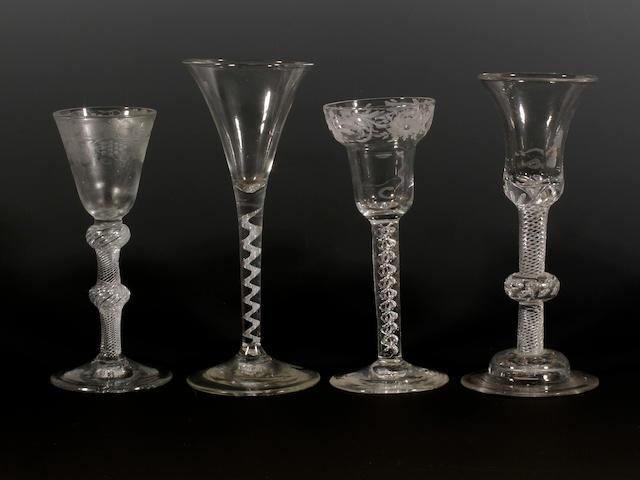 Four wine glasses, circa 1750-60