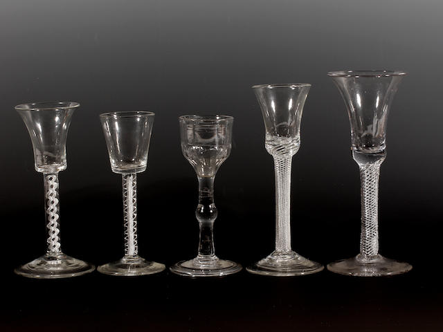 Four airtwist wine glasses and another, circa 1750-60