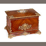 A late 19th century French kingwood, porcelain and gilt metal mounted humidor