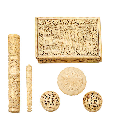 A group of Canton export ivory pieces, late 19th century