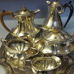 An electroplated four piece tea service,   (6)