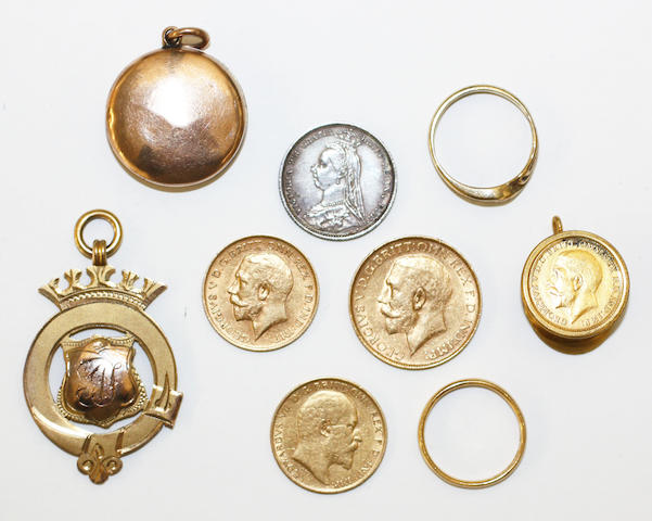 A small collection of gold items,