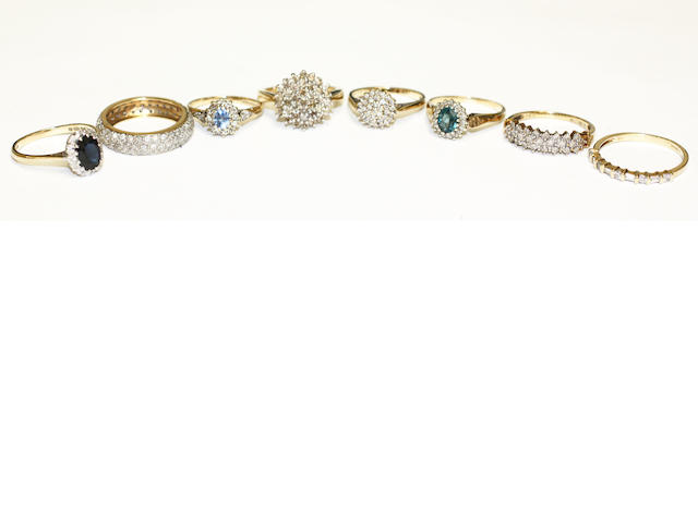 A diamond full hoop eternity ring, (8)