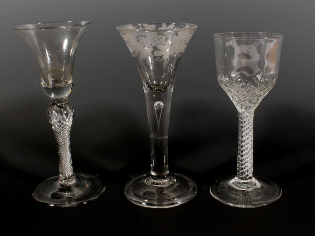 Two airtwist glasses and a plain stem glass, 18th century
