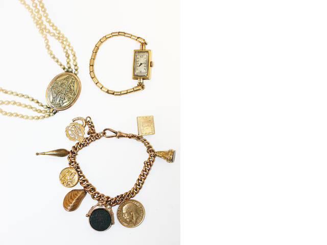A charm bracelet, a three row cultured pearl necklace and a ladys wristwatch,