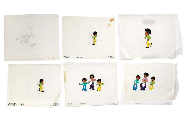 The Jackson 5: five original animation cels and a production drawing for the TV cartoon series, early 1970s,