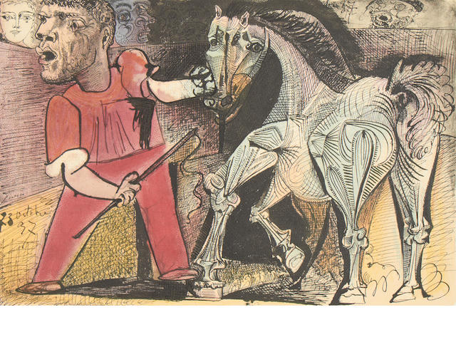 "Picasso Cheval de Cirque (Homme tenant un cheval) 1956 colour lithograph on arches from ""Dans l'Atelier de Picasso"", proof without middlefold aside book edition of 250 copies, cramer 88,"