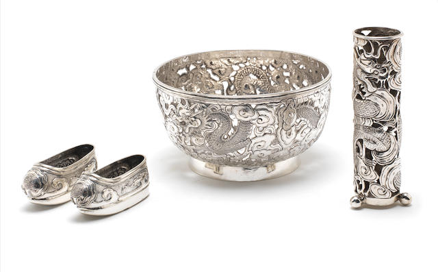 A late 19th/early 20th century Chinese export  silver  bowl by Wang Hing, also stamped '90' with character mark, circa 1900  (4)