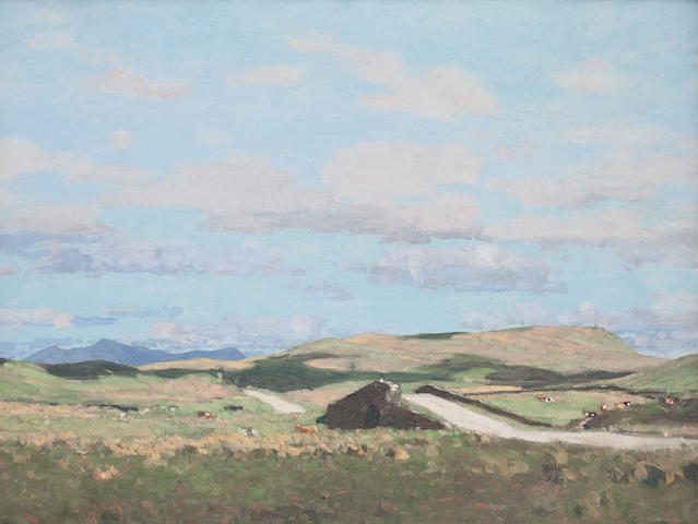 George Houston, Ayrshire looking towards Arran, signed, oil on canvas, 70 x 91cm