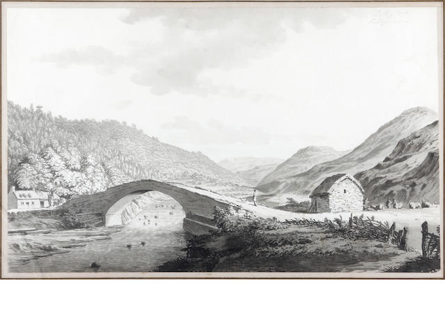 Samuel Hieronymus Grimm (Swiss, 1733-1794) Bridge by a croft, Cardiganshire,