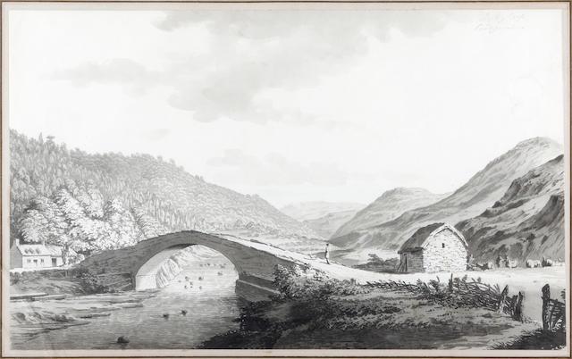 Samuel Hieronymus Grimm (Swiss, 1733-1794) Bridge by a croft, Cardiganshire,