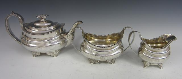 A Georgian three piece tea service