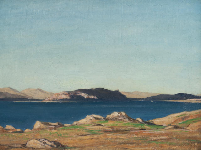 Sir David Young Cameron, RA RSA RWS RSW RE (British, 1865-1945) Blue Lake, Loch Neil 34.5 x 42 cm. (13 9/16 x 16 9/16 in.)