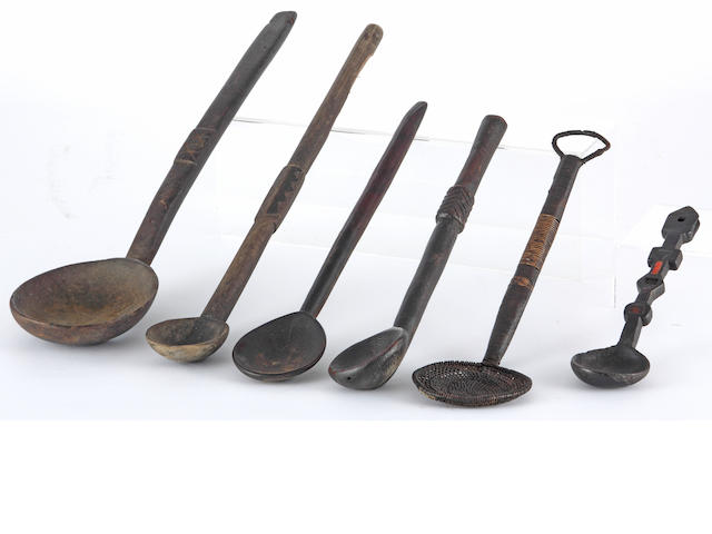 Five Zulu spoons, axe, club, staff etc. (9)