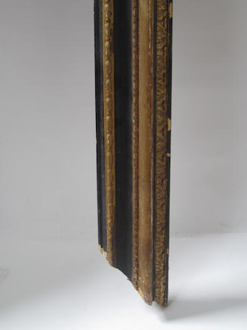 An Italian 18th Century carved, ebonised and parcel gilt frame