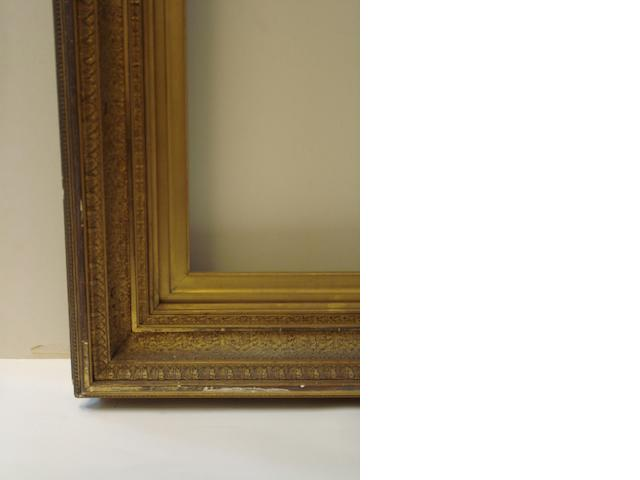 18th C English Maratta, gilt carved wood, and a Victorian compo frame