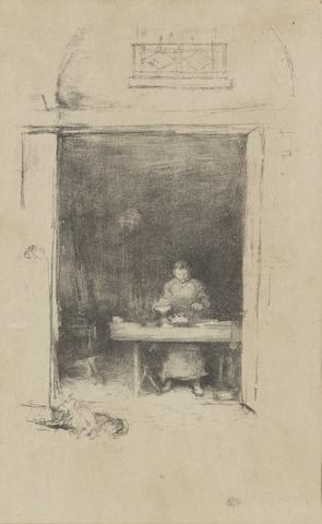 James Abbott McNeill Whistler (American, 1834-1903) The Smith, Passage du Dragon Lithograph, 1894, the first state of three, on off white japan, signed with the butterfly monogram lower right, 302 x 189mm (11 7/8 x 7 3/8in)