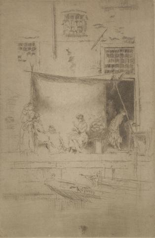"James Abbott McNeill Whistler (American, 1834-1903) Fruit-Stall Etching, printed in brown with tone, 1879-80, the seventh and final state, from ""Twenty-six Etchings"" (the Second Venice Set), on laid, trimmed with thread margins, with an unsigned paper tab, 225 x 149mm (8 7/8 x 5 7/8in)(SH)"