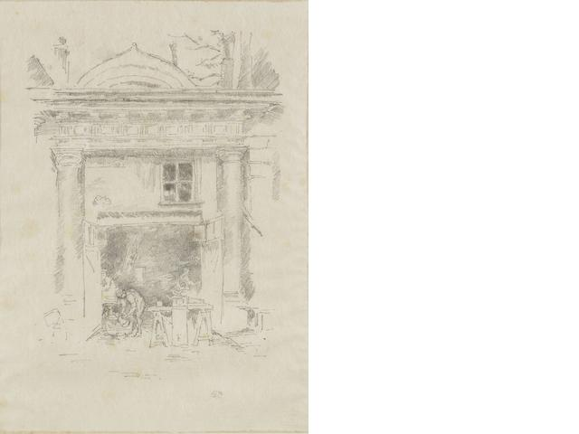 James Abbott McNeill Whistler (American, 1834-1903) The Whitesmiths, Impasse des Carmélites Lithograph, 1894, on laid japan, signed with the butterfly in pencil lower right, 275 x 201mm (10 3/4 x 7 7/8in)(SH)