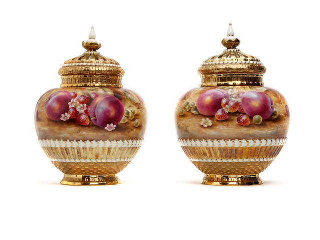 A pair of large Royal Worcester fruit painted pot pourri vases, covers and liners , signed Sally Wood, each approx 30cm high (2)