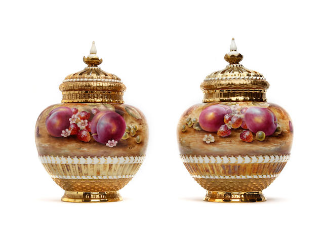 A large pair of Royal Worcester fruit painted pot-pourri vases and covers, painted by Sally Wood