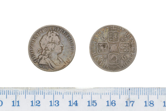 George I, Shilling, 1723, second laureate and draped bust right,