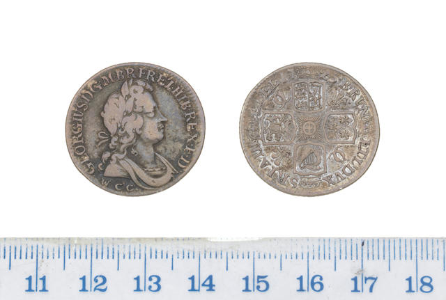 George I, Shilling, 1725, second laureate and draped bust right,