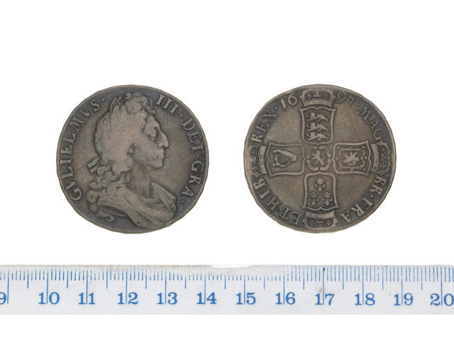 William III, Crown, 1697, third draped bust, right,
