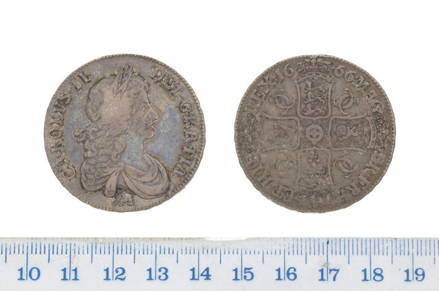 Charles II, Crown, 1666, second bust, elephant below,