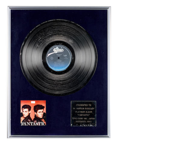 Wham!: Three Japanese sales awards for 'Fantastic' and 'Make It Big' albums,  presented to Andrew Ridgeley, 1983-1985, including: 3