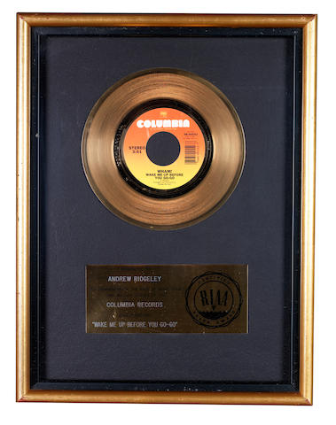 Wham!: An RIAA 'Gold' award for the single 'Wake Me Up Before You Go-Go', presented to Andrew Ridgeley,
