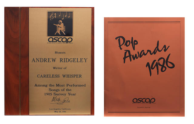 Wham!: An American Society of Composers Authors & Publishers award for 'Careless Whisper', presented to Andrew Ridgeley, dated May 28, 1986, 2