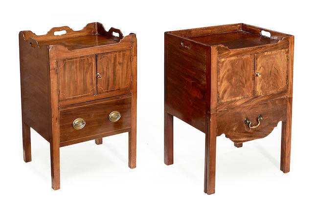 Two George III mahogany traytop bedside commodes