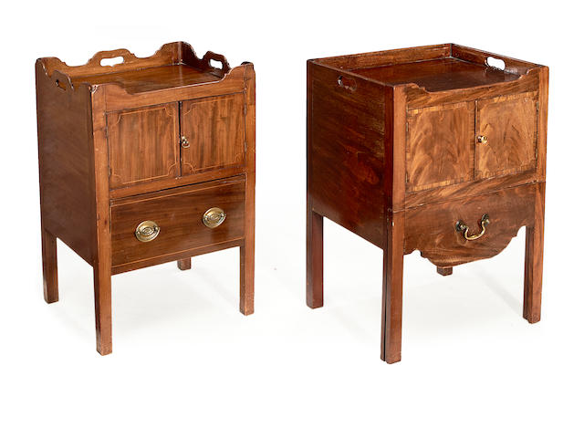 Two George III mahogany tray top bedside commodes