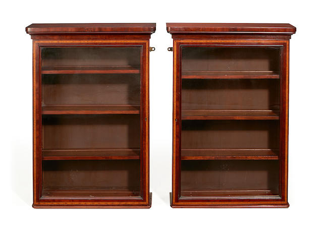 A pair of Edwardian mahogany and satinwood banded hanging display cabinets