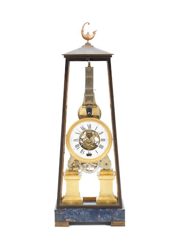 A fine French Restauration period gilt brass striking eight day clock