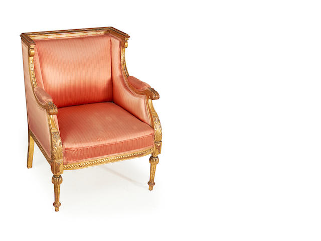 A French late 19th century carved giltwood bergere