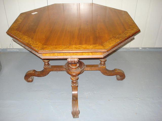 A late Victorian  walnut & burr walnut cross-banded octagonal centre table,