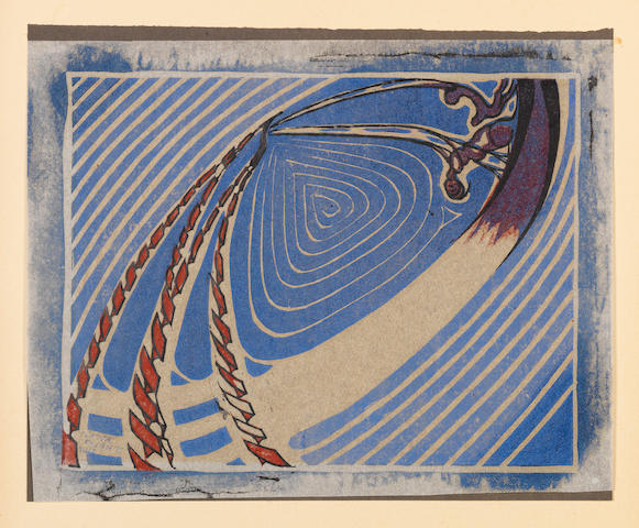 Claude Flight (British, 1881-1955) Swing-Boats Linocut printed in colbalt blue and crimson oil paint and black printing ink, 1921, on thin tracing paper, mounted to stiff black-brown paper backing, as issued, signed and numbered 33/50 in pencil lower left, with margins, 255 x 321mm (10 x 12 5/8in)(SH)