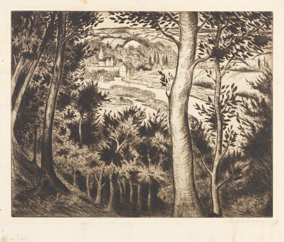 Christopher Richard Wynne Nevinson A.R.A. (British, 1889-1946) Marlow Etching, c.1930, on hand made laid, signed in pencil, 275 x 350 (10 3/4 x 13 3/4in) (PL)