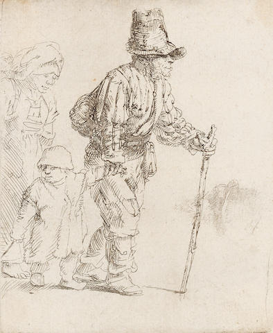 "Rembrandt Harmensz van Rijn (Dutch, 1606-1669) Peasant Family on the tramp Etching, c.1652, a late impression of the first state, with the false biting visible, on laid, 111 x 90mm 4 3/8 x 3 1/2in)(SH). Together with ""Old Man seated, with a beard, fur cap and velvet cloak"" (B.262), a fair impression of the final state, on laid, 150 x 130mm (5 7/8 x 5 7/8in)(SH) 2 unframed"