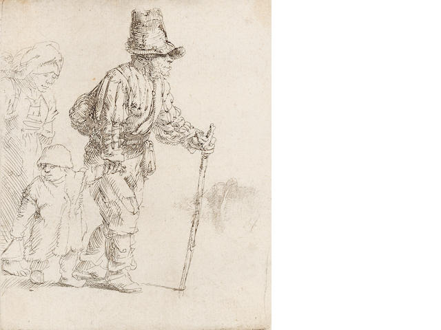 "Rembrandt Harmensz van Rijn (Dutch, 1606-1669) Peasant Family on the tramp Etching, c.1652, a late impression of the first state, with the false biting visible, on laid, 111 x 90mm 4 3/8 x 3 1/2in)(SH). Together with ""Old Man seated, with a beard, fur cap and velvet cloak"" (B.262), a fair impression of the second state of three, on laid, 150 x 130mm (5 7/8 x 5 7/8in)(SH)   2 unframed"
