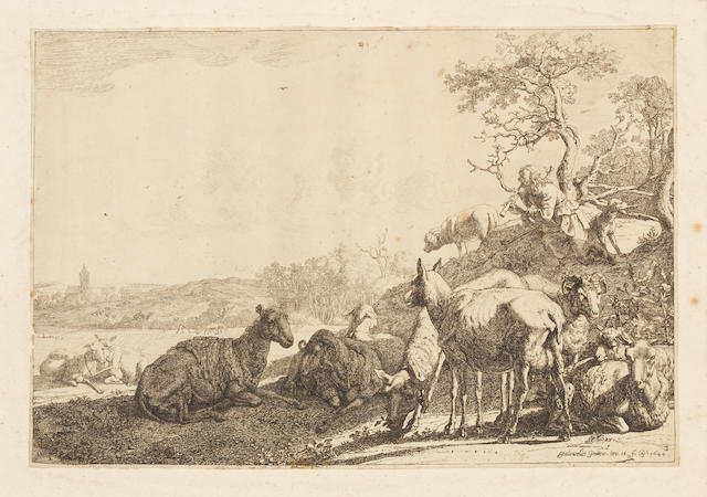 A Collection Old Master Prints By and after Lucas van Leyden,  Castiglione, Salvator Rosa, Ostade, Paulus Potter, Goudt, Hollar, various condition. collection unframed