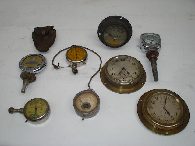 A collection of clocks and instruments,