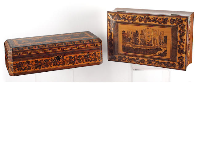 A rosewood box depicting Hever Castle,