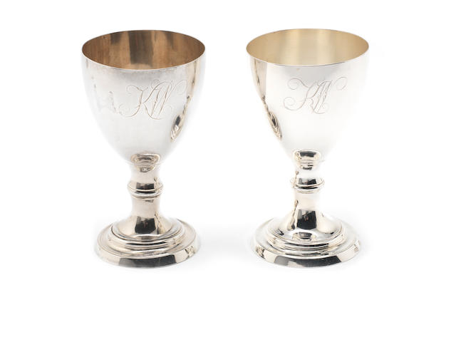 A pair of George III silver goblets By Thomas Lamborn, Sheffield 1777