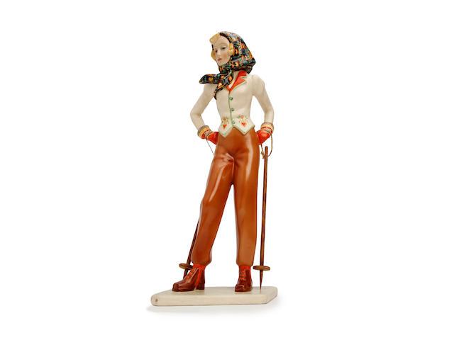 A Lenci 'Al Monti' figure, designed by Abele Jacobi Circa 1936